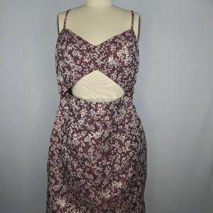 Leyden Cami Cut Out Dress Brown Brocade sz M